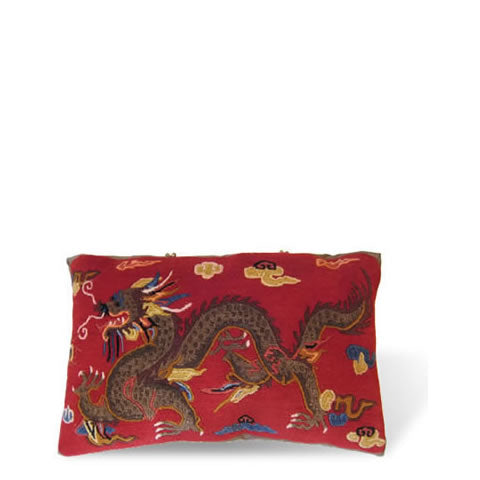 handmade Tibetan pillow - carpet pillow with wool & silk front, long brown dragon, cardinal red background, CT-07 dragon long red