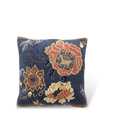 handmade Tibetan pillow - wool front PeSar carpet pillow with graphic floral design in peridot with large floral design, dark navy blue, CT-23
