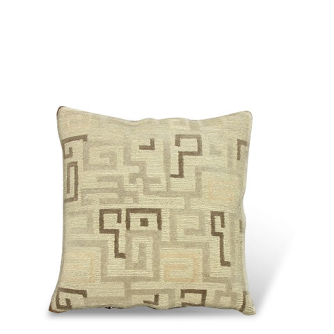 handmade Tibetan pillow - wool front Tangdon carpet pillow with a modern pattern; colors include beige, CT-22b grey, silver