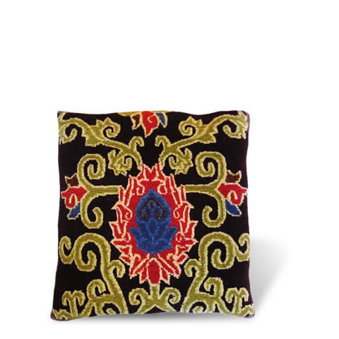 handmade Tibetan pillow - wool front carpet pillow with graphic lotus flower in plum, CT-16 Lotus plum