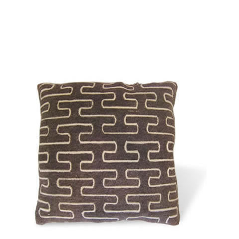 handmade Tibetan pillow - wool front carpet pillow with graphic maze design, natural slate color, CT-25c