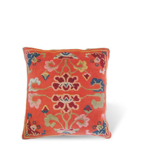handmade Tibetan pillow - wool front Metok carpet pillow with graphic floral design in orange, CT-05 Metok orange