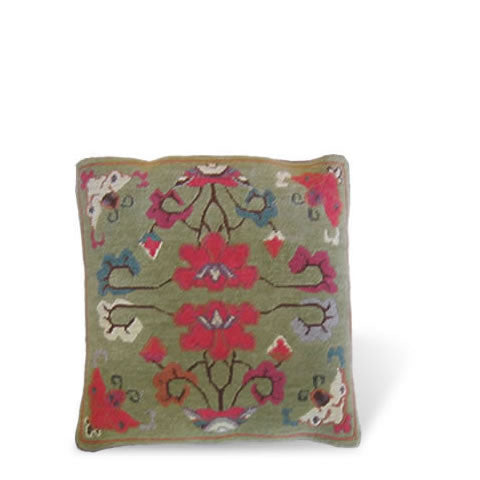 handmade Tibetan pillow - wool front Metok carpet pillow with graphic floral design in peridot green