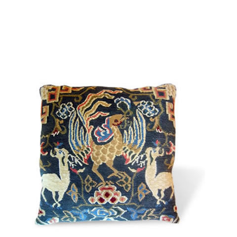 handmade Tibetan pillow - wool front carpet pillow with bird of paradise & 2 deer, slate blue background, CT-10 Bird of Paradise