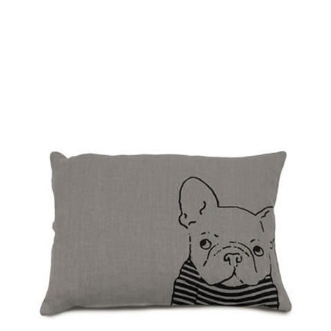 Willey Studio - Napoli Vintage Belgian linen French Bulldog pillow in fog grey, Willey Boston store exclusive