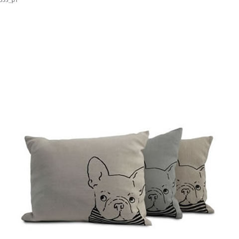 Willey Studio - French bulldog Libeco Belgian linen pillows, Willey Boston exclusive