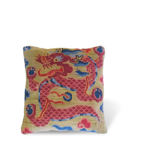 handmade Tibetan pillow - wool front carpet pillow with graphic dragon, peridot green background, CT-05 Dragon