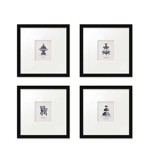 Willey Studio - Parisian garden ornament print set, store exclusive