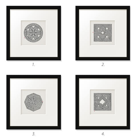 Willey Studio - black & white maze & labyrinth framed prints No. 1-4, Willey Boston original