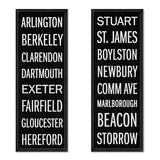 Willey Studio - handmade black Back Bay subway / street signs, Willey Boston exclusive
