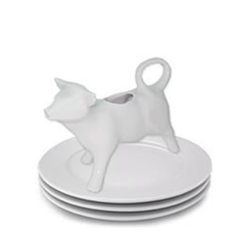 Pillivuyt porcelain - cow creamer / pitcher standing on Sancerre plates, 270101 BL, 871638000096