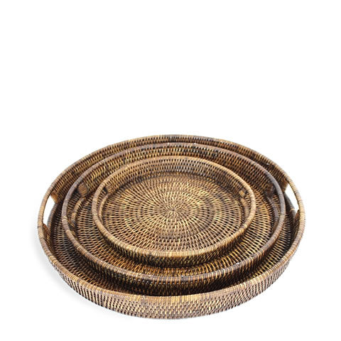 handwoven rattan round serving trays, 3 sizes, BAM099-AB