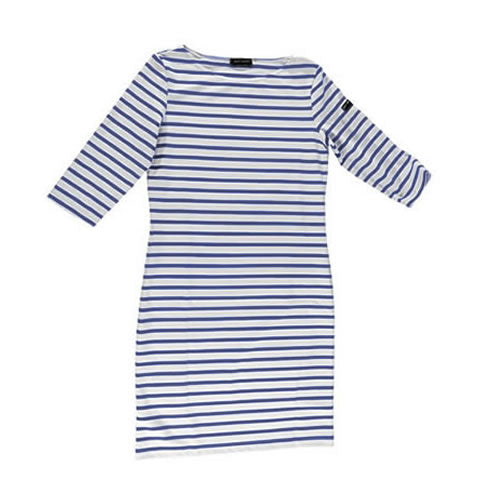 Saint James - white anti-UV Propriano II striped dress with stripes, 2171-0S neige/navy