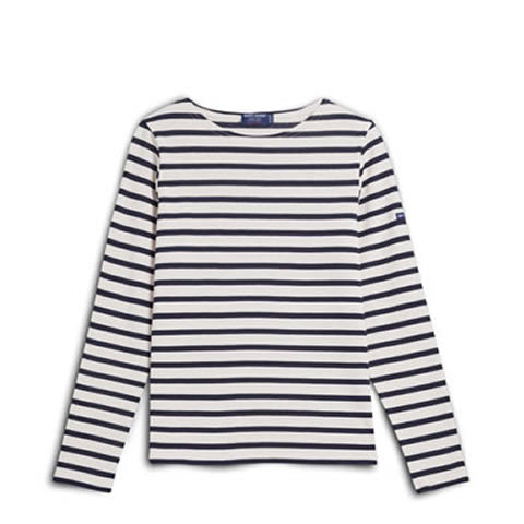 Saint James - heavy cotton women's French Meridame striped shirt in 4135-50 ecru/marine
