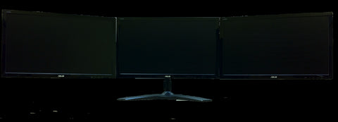 "An image of an AMR3S set up with three 24"" screens"
