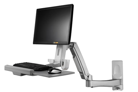 Sit-Stand Swing Arm Wall Mount Computer Workstation System  - AMR1AWSL