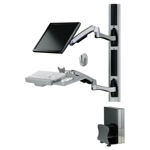 Sit-Stand Combo Workstation Wall Mount System with Extended Display Arm