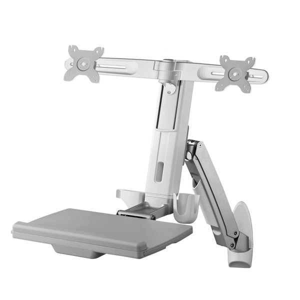 "AMR2AWS | Dual Combo Articulating Workstation Wall Mounts | Supports 24"" LCD per Arm"
