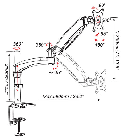 Single Monitor Mount with Articulating Arm