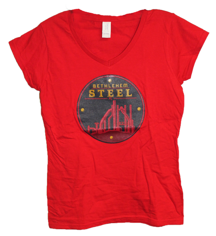 Gildan Women's 2nd Logo V Neck- Red