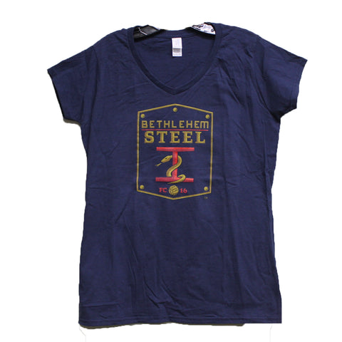 Gildan Women's Logo V Neck- Navy