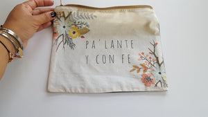 Pa'lante y con Fe zippered pouch - For Puerto Rico
