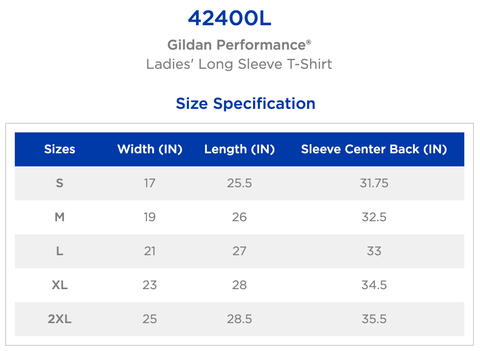 Ladies - Sizing Chart