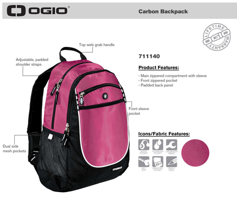OGIO Carbon Backpack - Product Specs