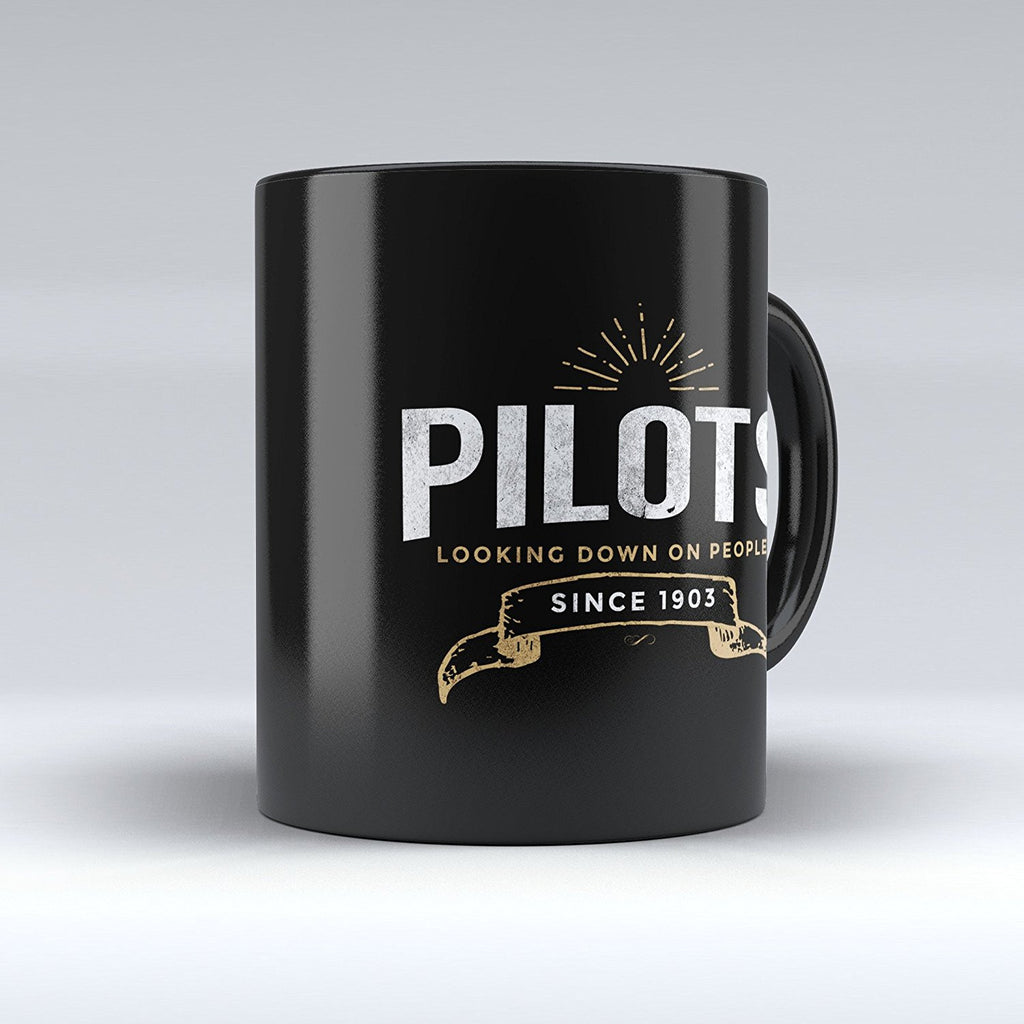 "Limited Edition - ""Pilots Looking Down on People 1903"" 11oz Mug - Pilot Mugs - Mugdom Coffee Mugs"