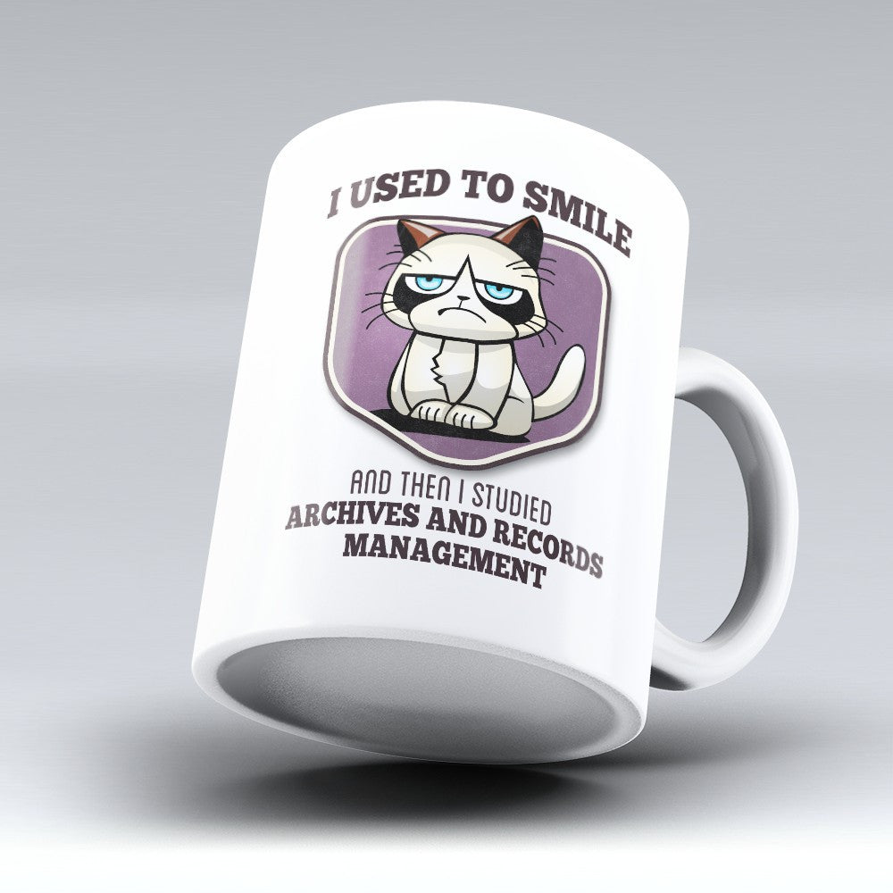 "Limited Edition - ""I Used to Smile - Archives and Records Management"" 11oz Mug - Records Archivist Mugs - Mugdom Coffee Mugs"