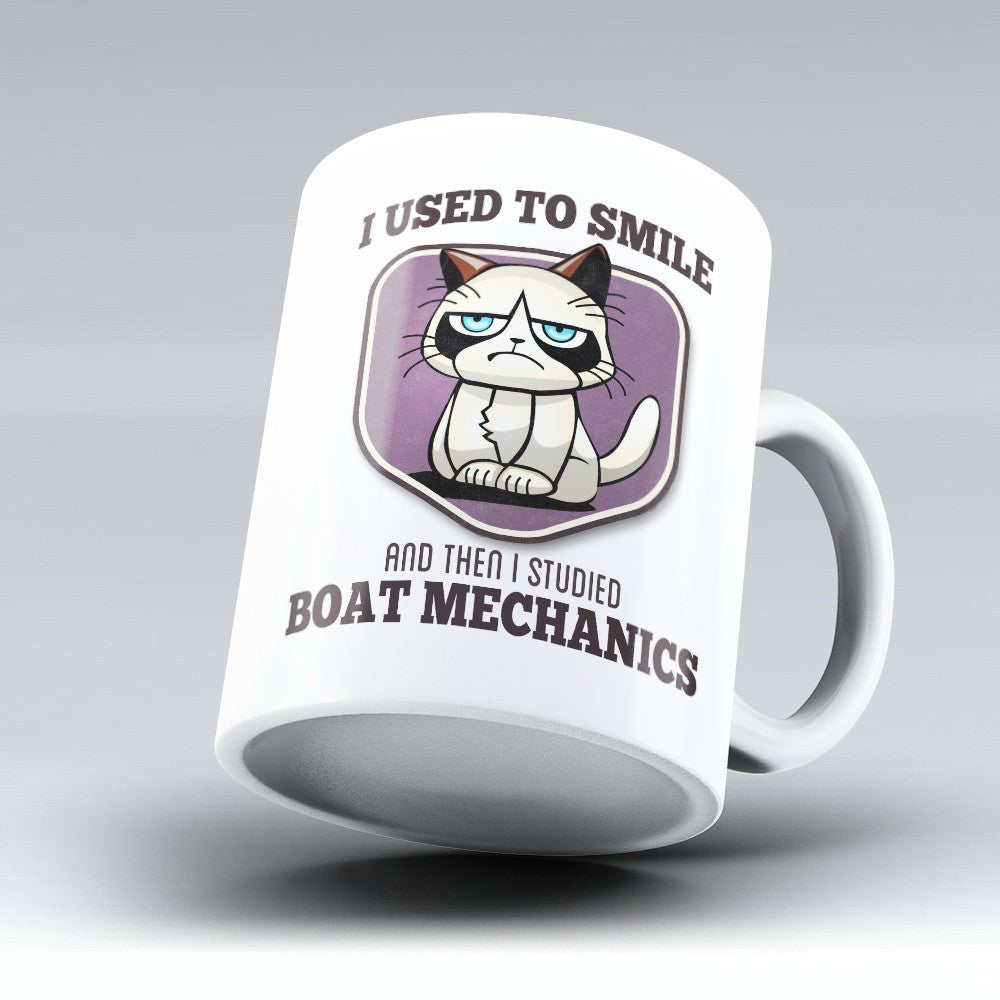 "Limited Edition - ""I Used to Smile - Boat Mechanics"" 11oz Mug - Boat Mechanic Mugs - Mugdom Coffee Mugs"