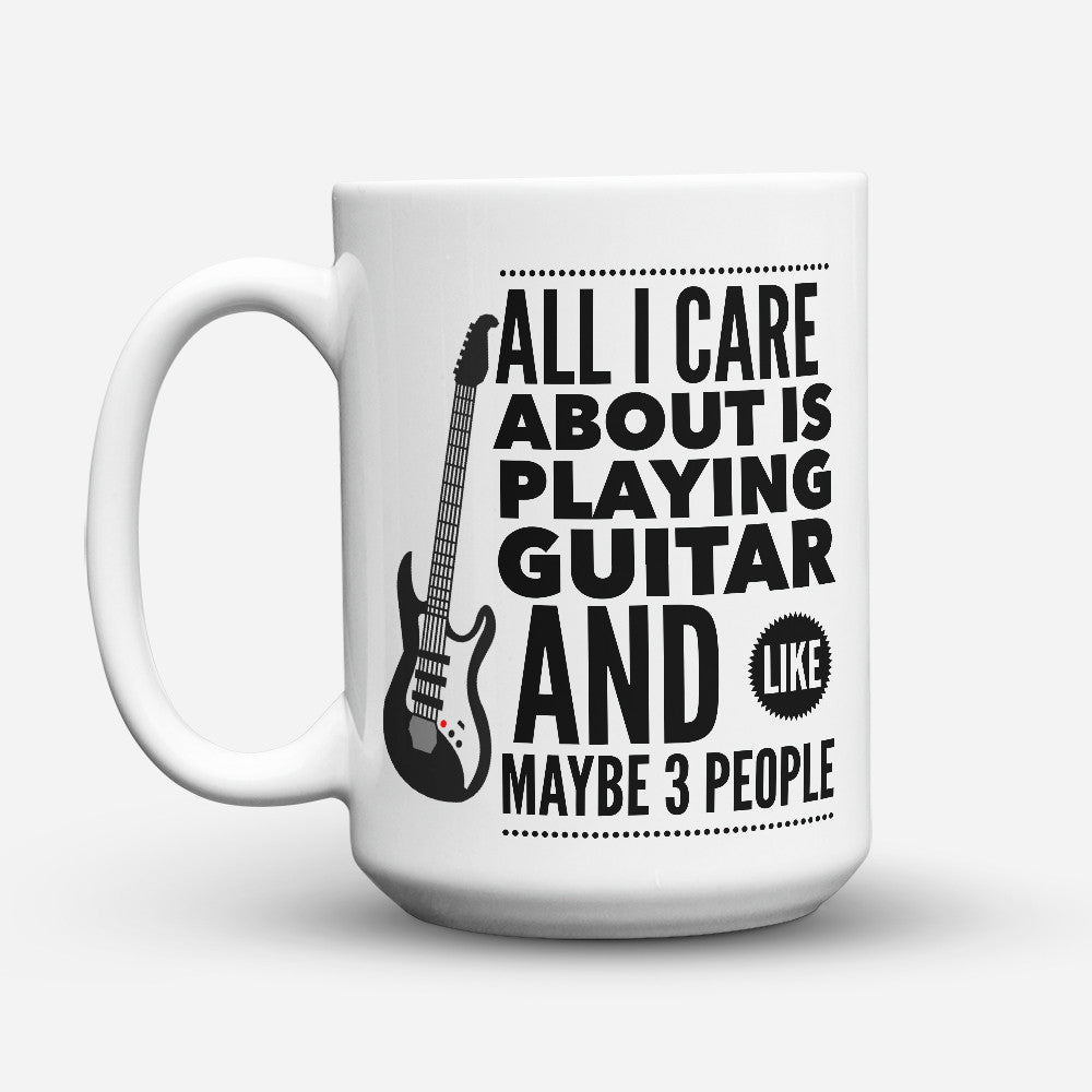 "Limited Edition - ""Care Guitar"" 15oz Mug - Music Mugs - Mugdom Coffee Mugs"
