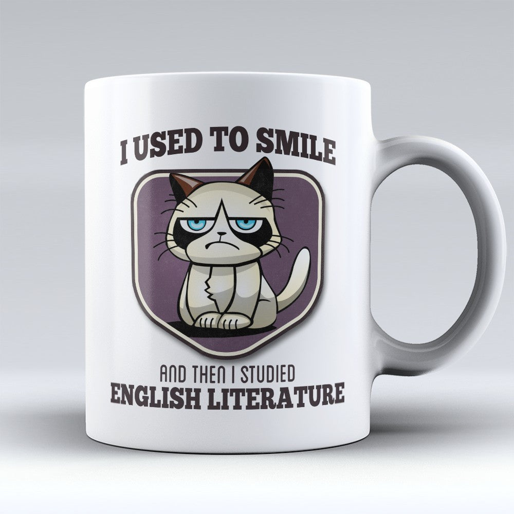 "Limited Edition - ""I Used to Smile - English Literature"" 11oz Mug - Writer Mugs - Mugdom Coffee Mugs"