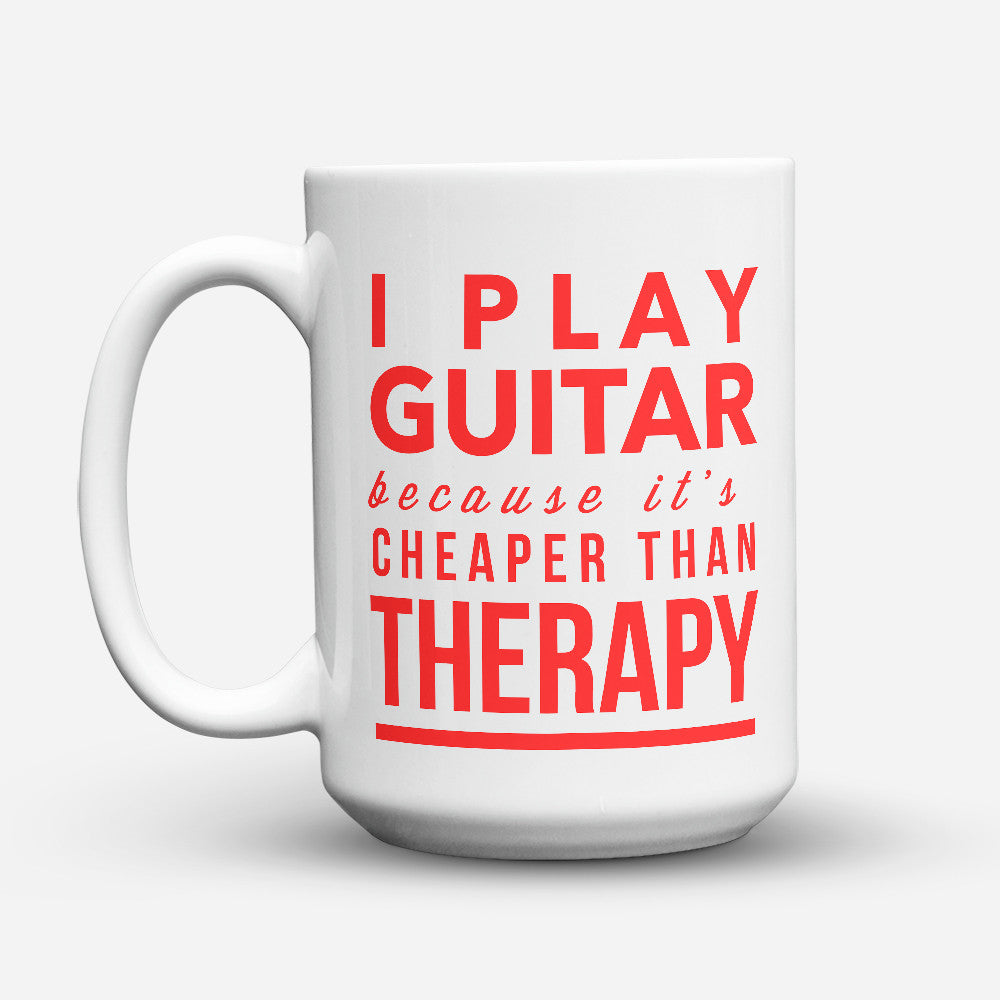 "Limited Edition - ""Therapy"" 15oz Mug - Guitar Mugs - Mugdom Coffee Mugs"