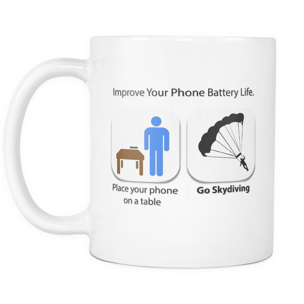 "Limited Edition - ""Phone Battery Skydiving"" 11 oz Mug - Funny Mugs - Mugdom Coffee Mugs"