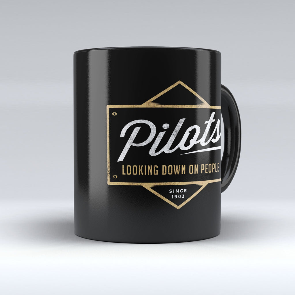 "Limited Edition - "" Pilots Looking Down"" 11oz Mug - Pilot Mugs - Mugdom Coffee Mugs"