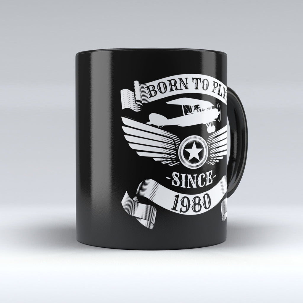 Limited Edition - Born to Fly Since 1980 - 11oz mug - Pilot Mugs - Mugdom Coffee Mugs