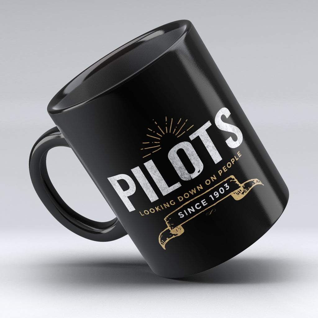 "Limited Edition - "" Pilots Looking Down 3"" 11oz Mug - Pilot Mugs - Mugdom Coffee Mugs"