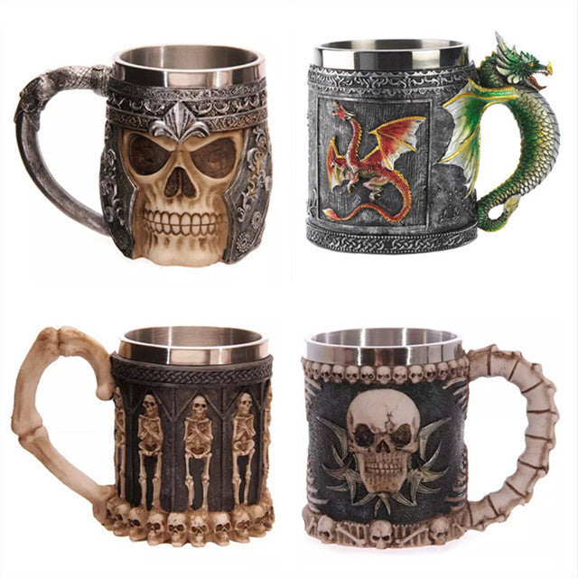 Resin & Stainless Steel Fantasy Tankards and Goblets - Mugdom Coffee Mugs