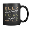 Beer = Salad - 11oz Black Mug - Alcohol Mugs - Mugdom Coffee Mugs