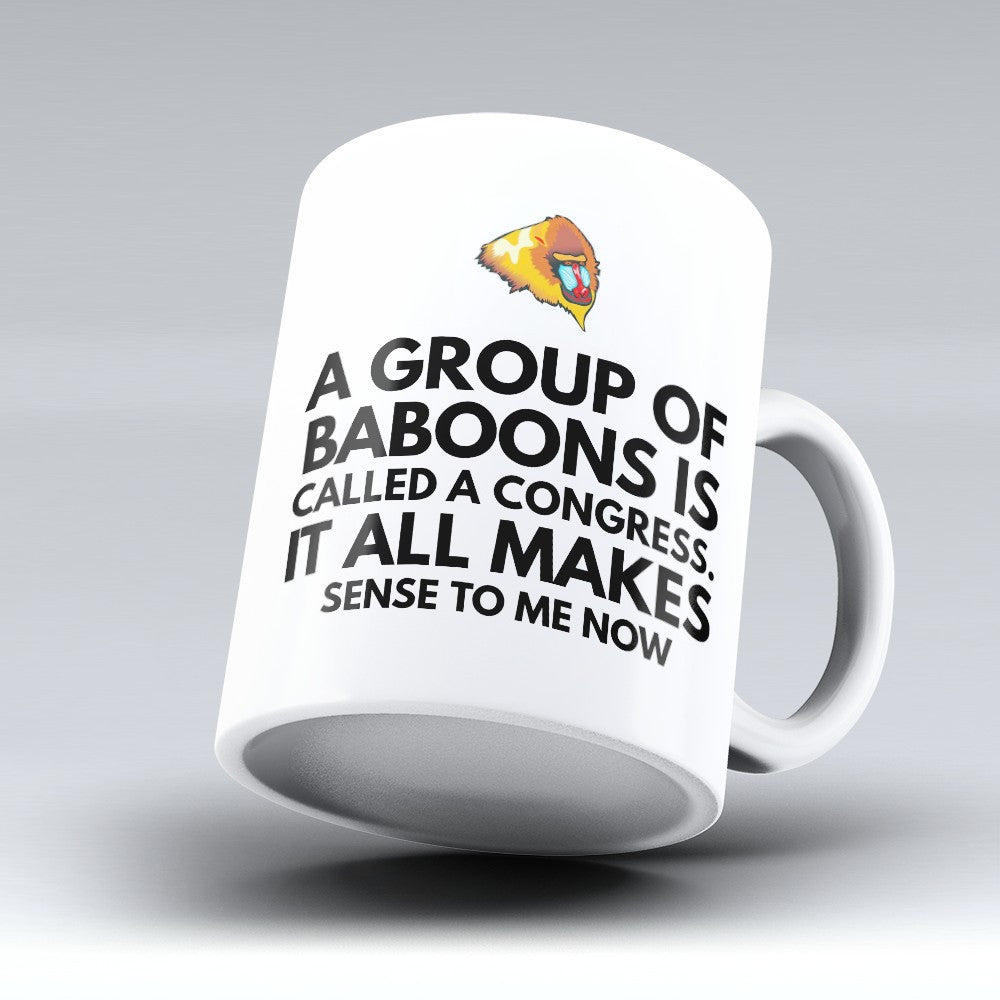 "Limited Edition - ""Baboons Congress"" 11oz Mug - Political Mugs - Mugdom Coffee Mugs"