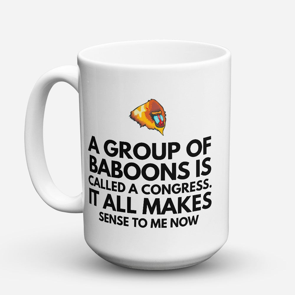 "Limited Edition - ""Baboons Congress"" 15oz Mug - Political Mugs - Mugdom Coffee Mugs"