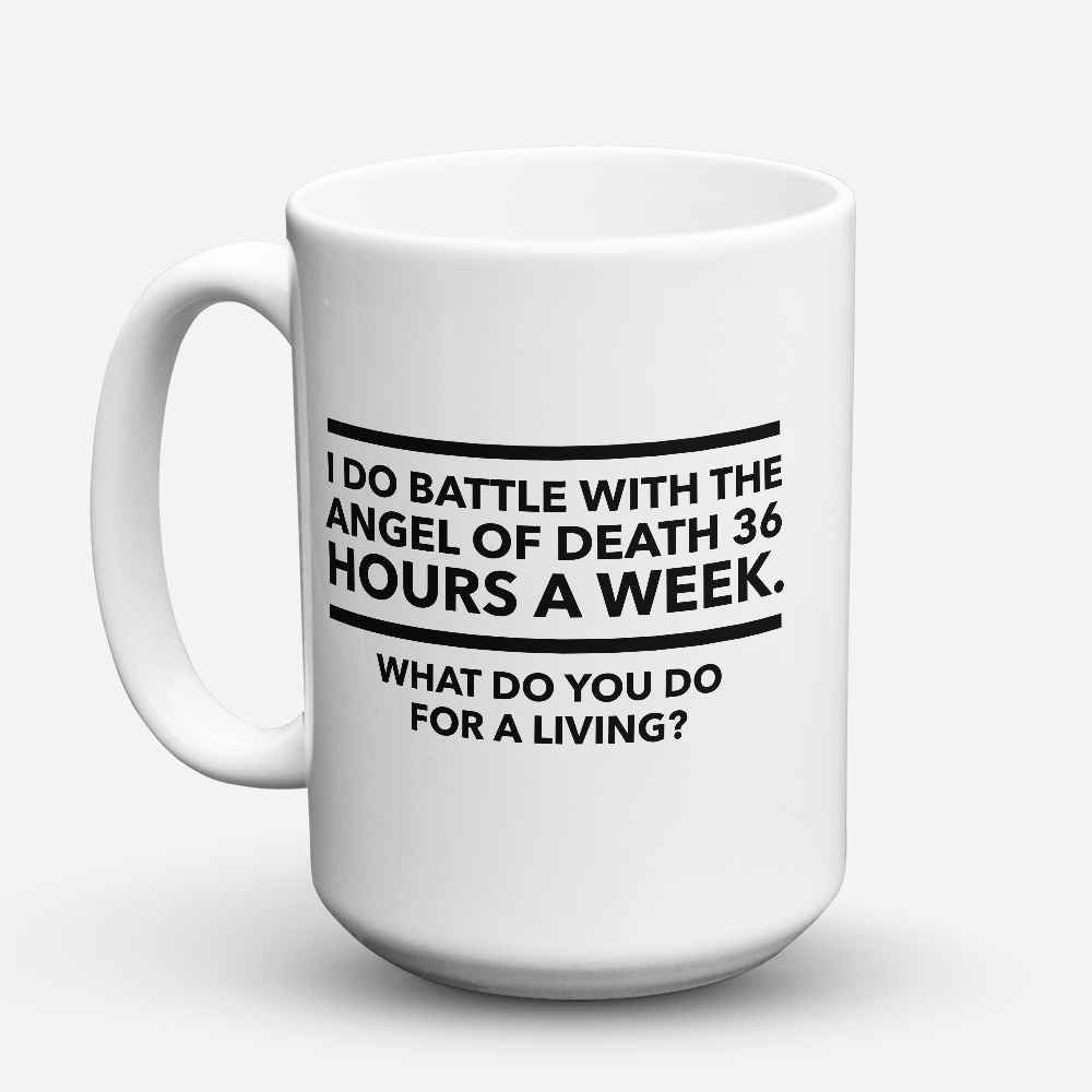 "Limited Edition - ""Battle with the Angel of Death"" 15oz Mug - Doctor Mugs - Mugdom Coffee Mugs"