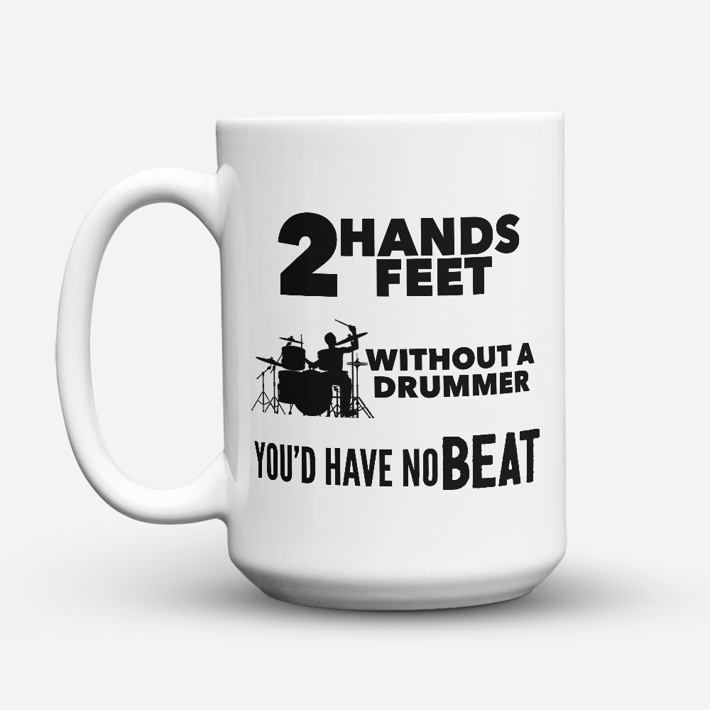 "Limited Edition - ""No Beat"" 15oz Mug - Drummer Mugs - Mugdom Coffee Mugs"