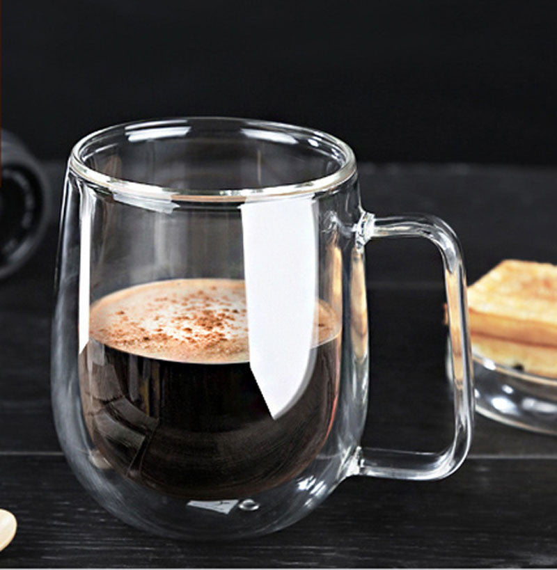 Premium Hand-Blown Glass Coffee Cup - 8.4oz