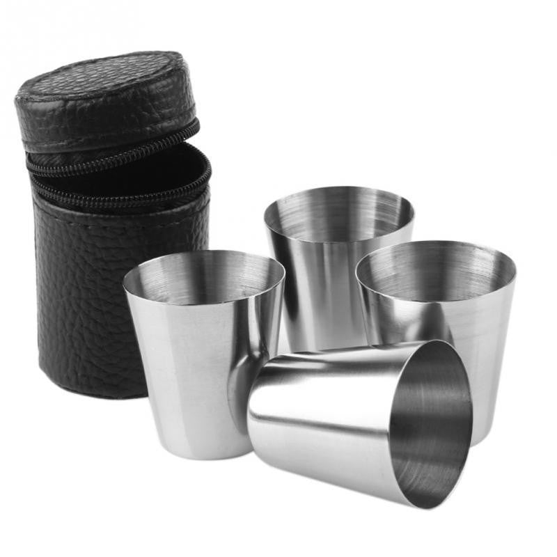Stainless Steel Shot Glasses - 4pcs w/Case - Mugdom Coffee Mugs