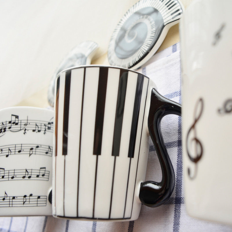 Music Staves Mug with FREE Lid - Music Mugs - Mugdom Coffee Mugs