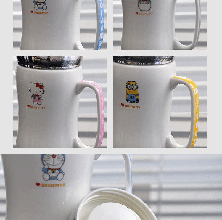 Cartoon Character Mug w/ Lid & Spoon - 13.5oz - Anime Mugs - Mugdom Coffee Mugs