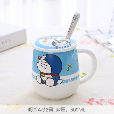 """Hello Kitty"" and ""Doraemon"" Lidded Mug w/Spoon - Anime Mugs - Mugdom Coffee Mugs"