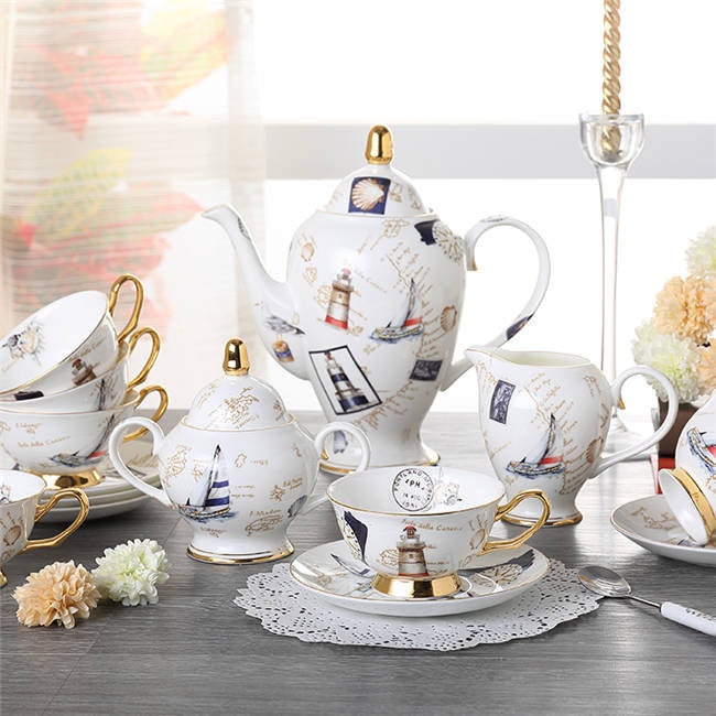 """Logbook"" Bone China Full Tea Set - Tea Set - Mugdom Coffee Mugs"